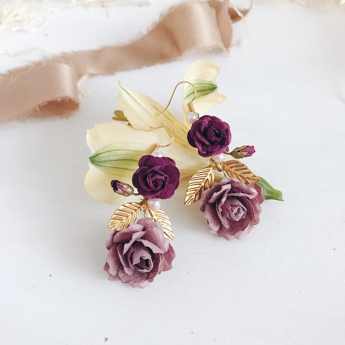 Maroon Burgundy Gold earrings  by Serenity Wedding - 006