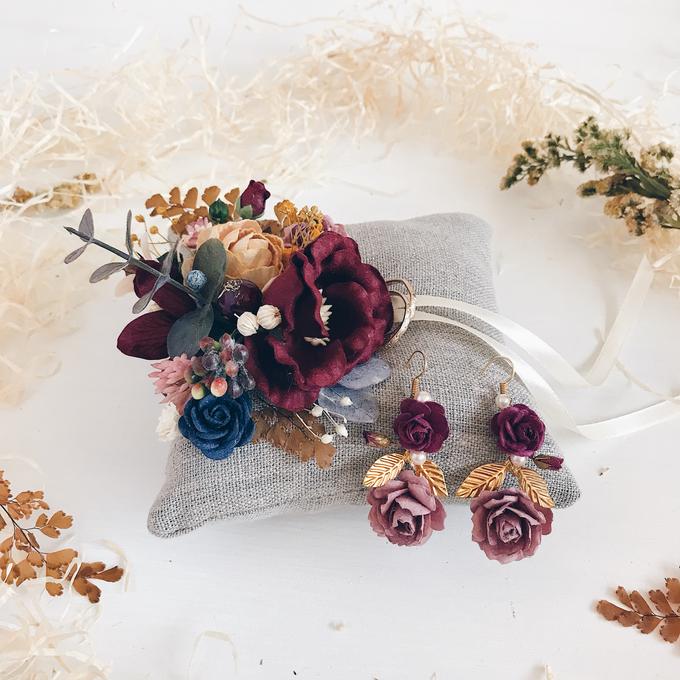 Maroon Burgundy Gold earrings  by Serenity Wedding - 007
