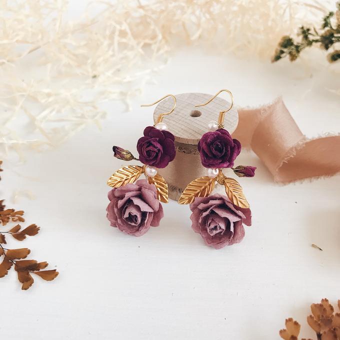 Maroon Burgundy Gold earrings  by Serenity Wedding - 008