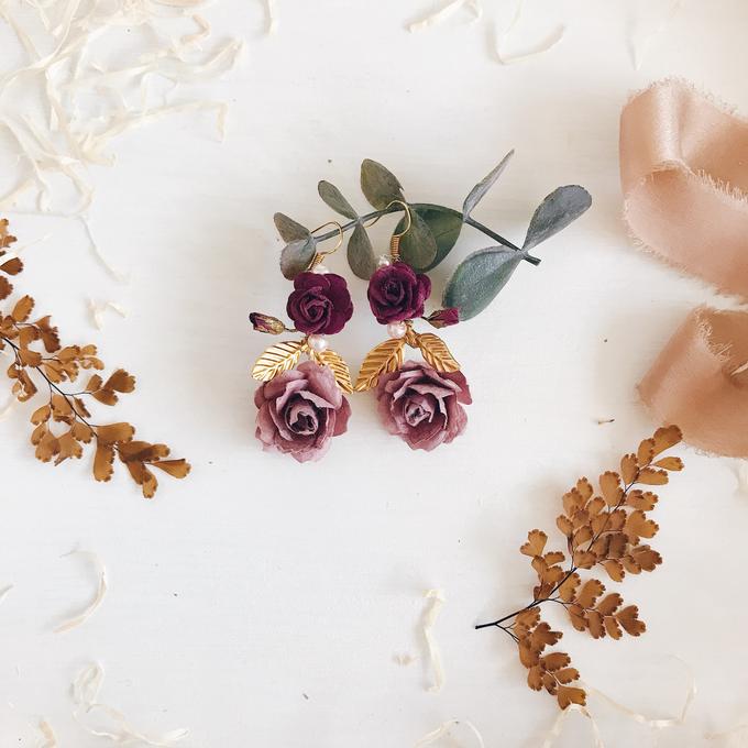 Maroon Burgundy Gold earrings  by Serenity Wedding - 009