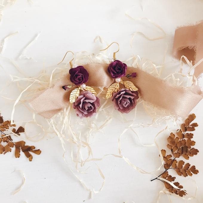 Maroon Burgundy Gold earrings  by Serenity Wedding - 010