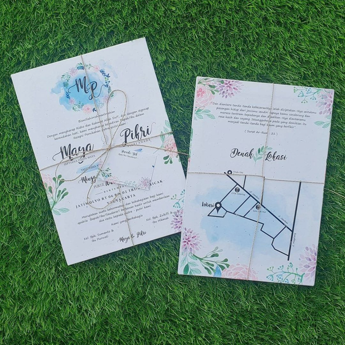 Single Hardcover (With Name Tag & Hemp Rope) Without Envelope by Bellva Invitation - 001