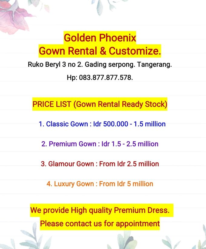 Pricelist (Daftar Harga) by Golden Phoenix Rent Gown - 001