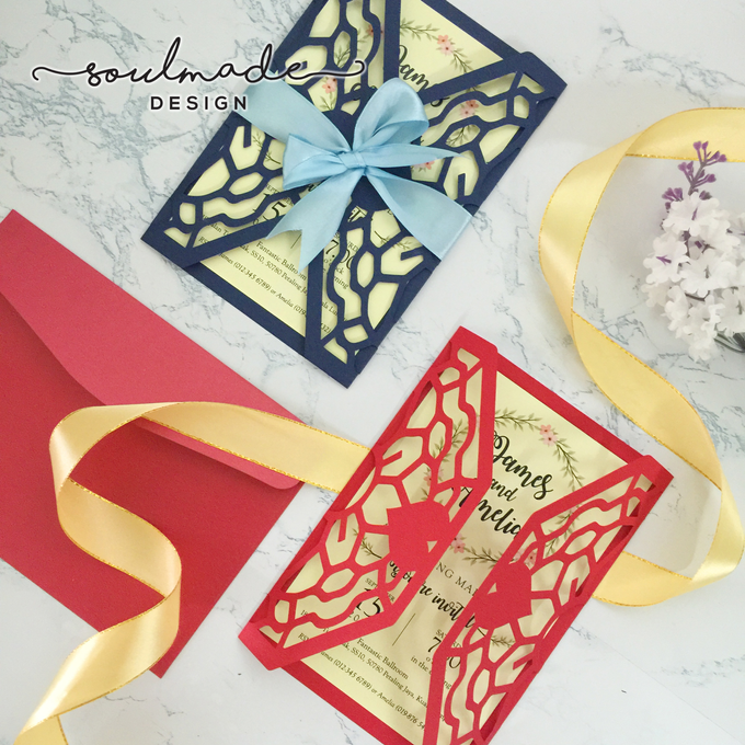 Intricate Die Cut Invitation Card Ribbon By Soulmade Design