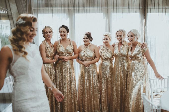 Taytes Bridesmaids in Champagne Sequins Dresses by Goddess By Nature - 002