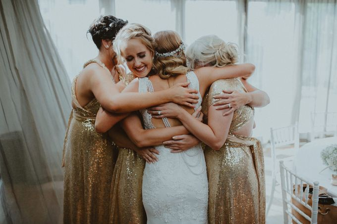 Taytes Bridesmaids in Champagne Sequins Dresses by Goddess By Nature - 003