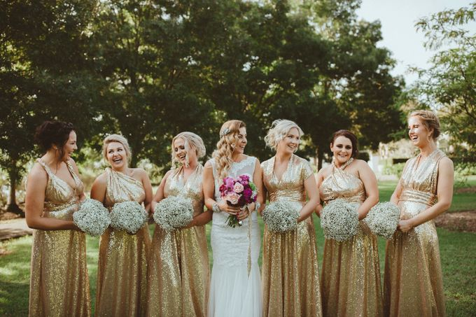 Taytes Bridesmaids in Champagne Sequins Dresses by Goddess By Nature - 005