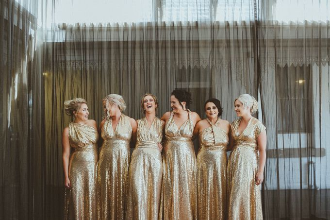 Taytes Bridesmaids in Champagne Sequins Dresses by Goddess By Nature - 001