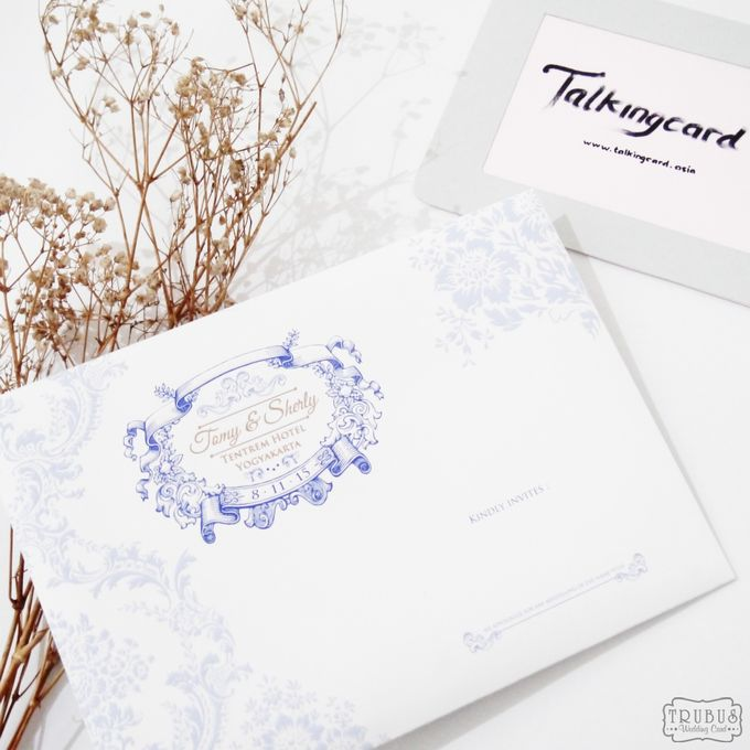 White Blue Single Hardcover Invitation by TalkingCard - 001