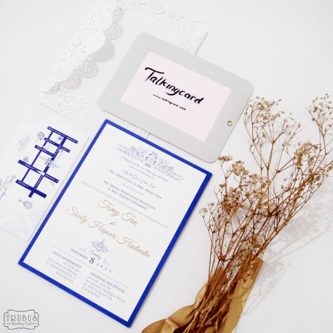 White Blue Single Hardcover Invitation by TalkingCard - 003