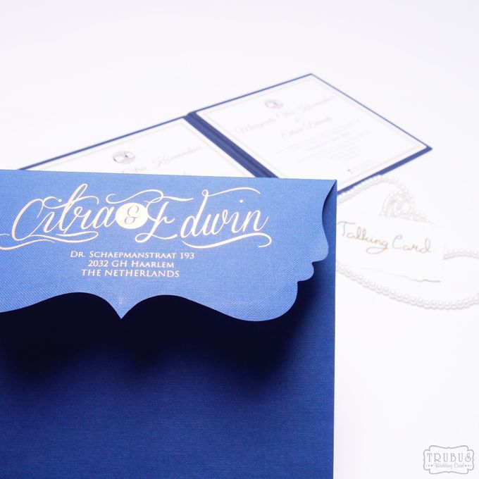 Simple Blue Hardcover Invitation by TalkingCard - 008