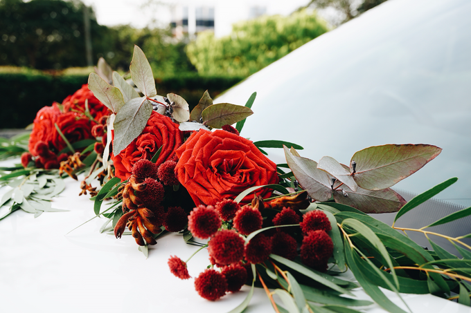 Bridal Car Dressed with Rustic Red Runner  by The Bloomish Eden - 002