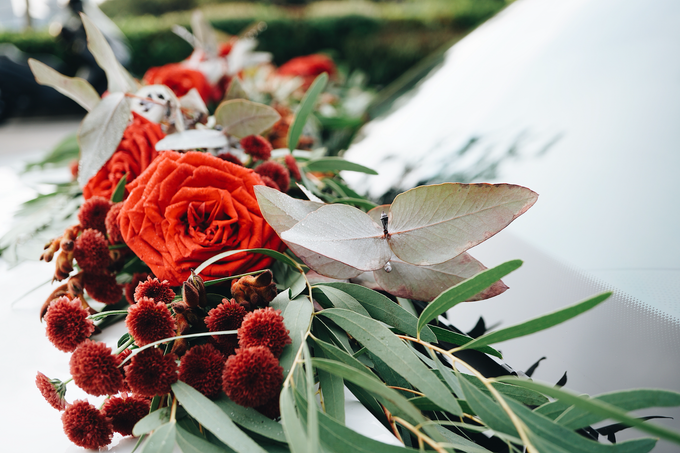 Bridal Car Dressed with Rustic Red Runner  by The Bloomish Eden - 003