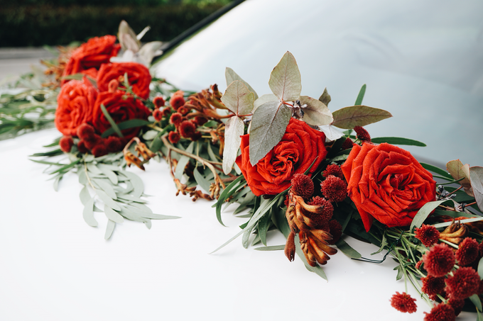 Bridal Car Dressed with Rustic Red Runner  by The Bloomish Eden - 005