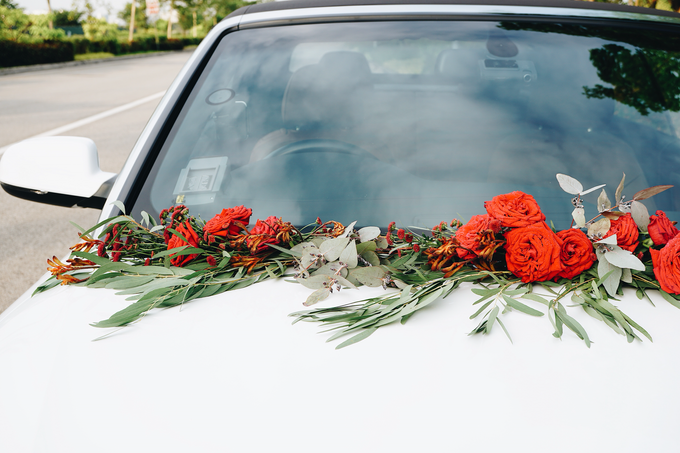 Bridal Car Dressed with Rustic Red Runner  by The Bloomish Eden - 008