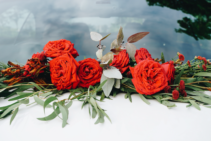Bridal Car Dressed with Rustic Red Runner  by The Bloomish Eden - 007