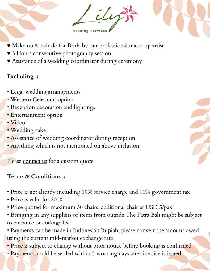 Our Wedding Packages by Lily Wedding Services - 007