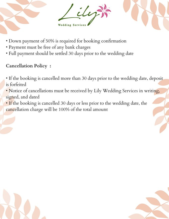 Our Wedding Packages by Lily Wedding Services - 008