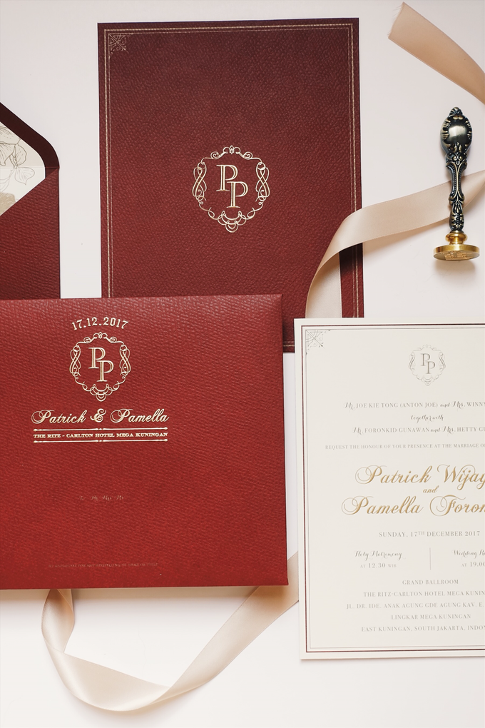Red burgundy gold touch classic invitation by soemario photography - 001