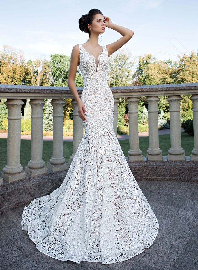 Elegant Trumpet Mermaid silhouette Azura wedding dress by DevotionDresses - 001