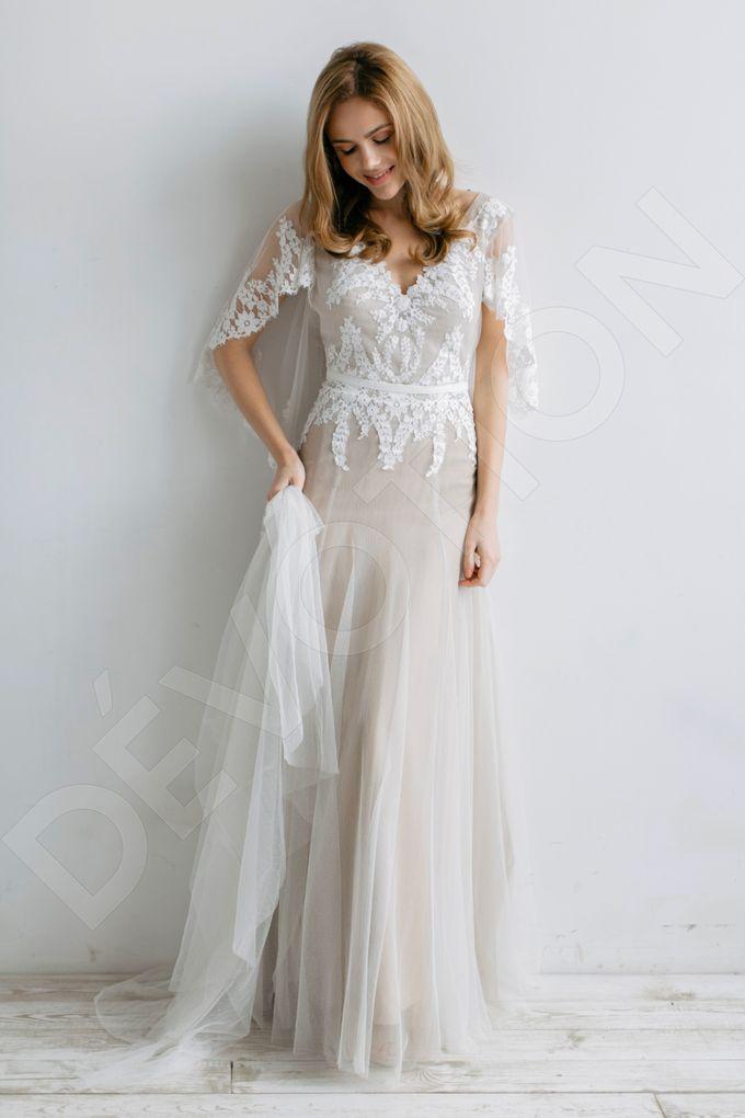 Modern A-line silhouette Sloan wedding dress by DevotionDresses - 004