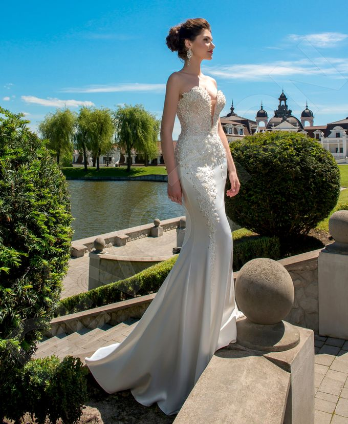 Elegant Trumpet Mermaid silhouette Luizella wedding dress by DevotionDresses - 003