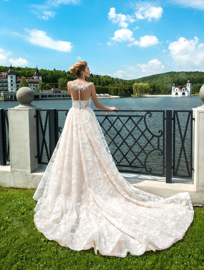 Modern A-line silhouette Pina wedding dress by DevotionDresses - 003