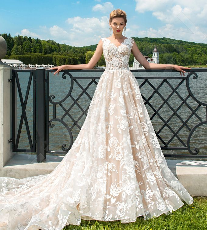 Modern A-line silhouette Pina wedding dress by DevotionDresses - 006
