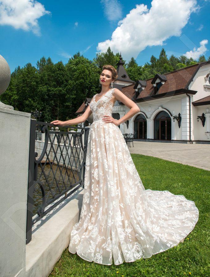Modern A-line silhouette Pina wedding dress by DevotionDresses - 005