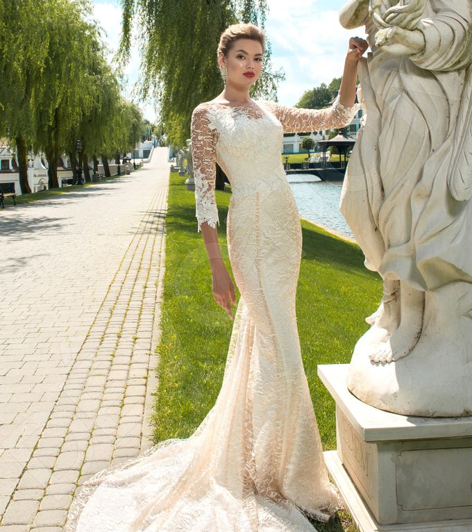 Elegant Trumpet Mermaid silhouette Dafnia wedding dress by DevotionDresses - 001