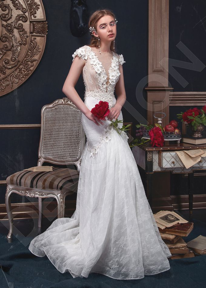 Elegant Trumpet Mermaid silhouette Milta wedding dress by DevotionDresses - 004