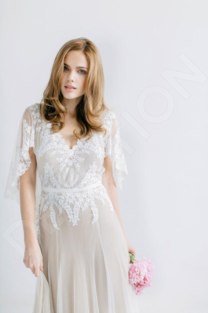Modern A-line silhouette Sloan wedding dress by DevotionDresses - 005