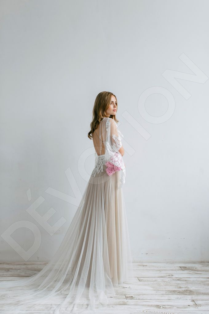 Modern A-line silhouette Sloan wedding dress by DevotionDresses - 007