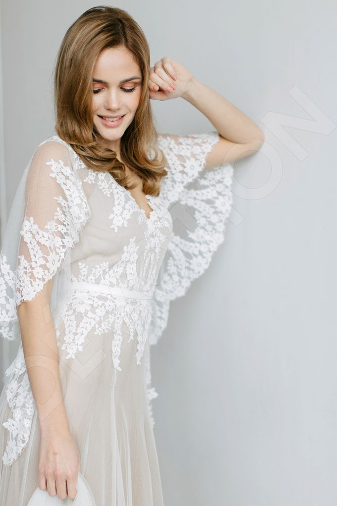 Modern A-line silhouette Sloan wedding dress by DevotionDresses - 008