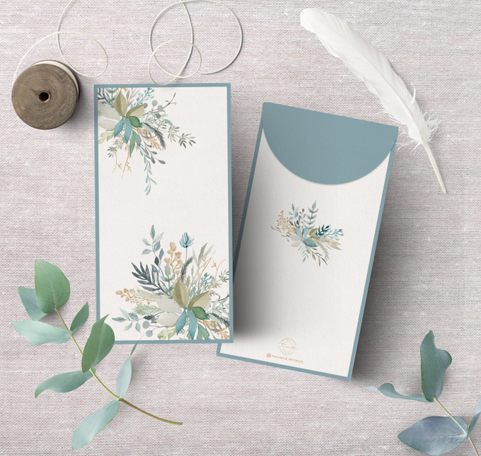 Dusty Blue AngPao Envelope by Trouvaille Invitation - 002