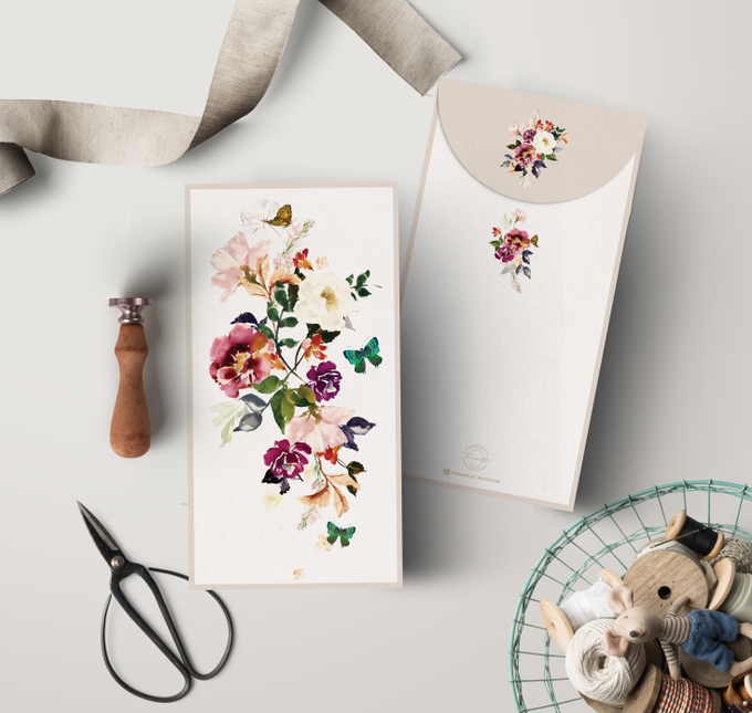 Plum Garden AngPao Envelope by Trouvaille Invitation - 003