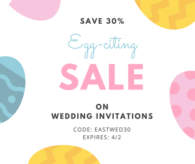 Easter Savings Flat 30 percent Off on Wedding Invites at 123WeddingCards by 123WeddingCards - 001