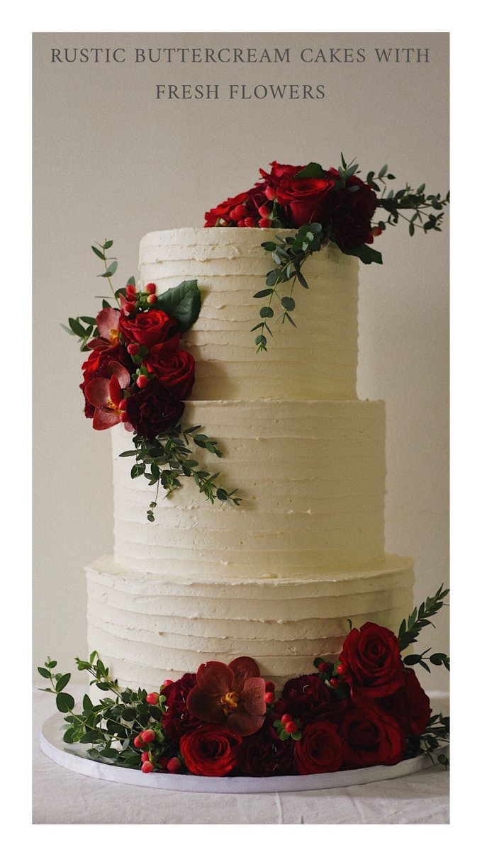 Rustic buttercream cake with fresh flowers by Twenty Two Cakes - 001