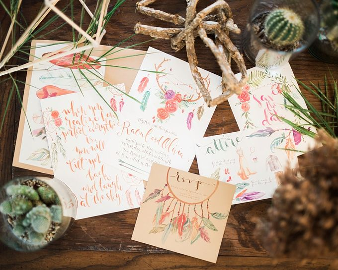 Watercolor and Calligraphy Wedding Invitations by First of April - 004