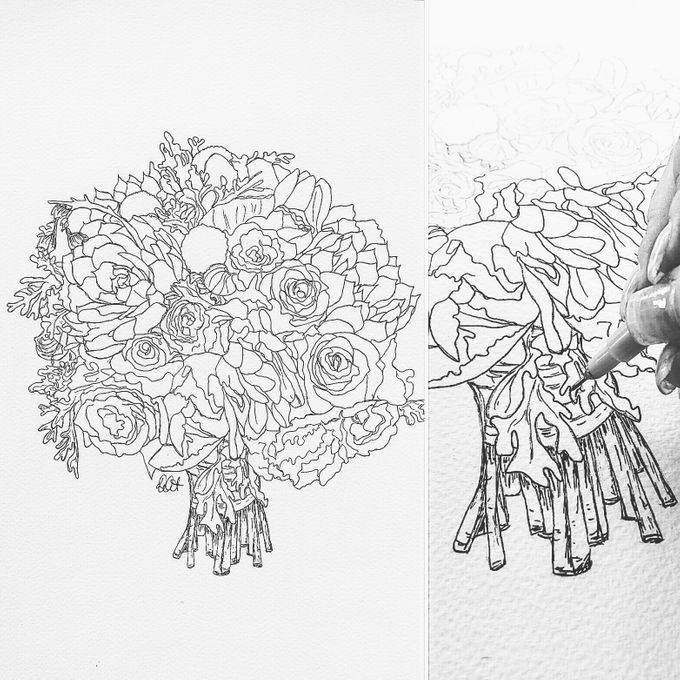 Custom Bridal Bouquet Paintings  by Down Ellis Lane - Art By Dianne White - 011