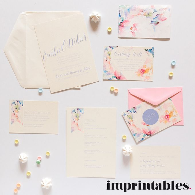 WATERWASHED FLORALS by IMPRINTABLES - Bespoke Paperie - 001