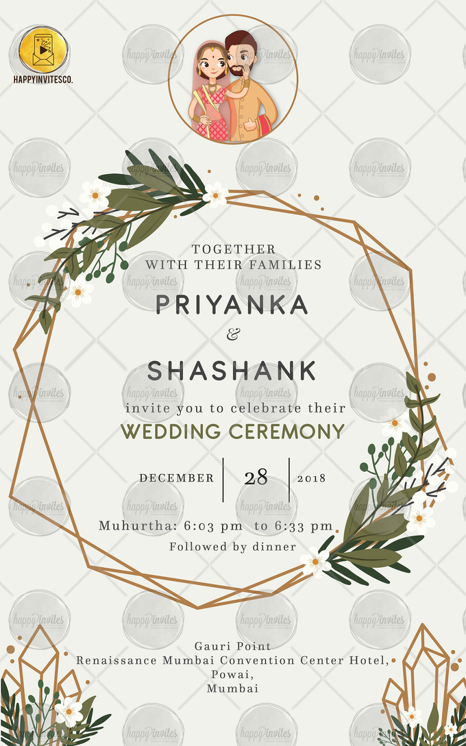 FLORAL THEME WEDDING INVITATION VIDEO  SAVE THE DATE INVITES by Happy Invites - 007