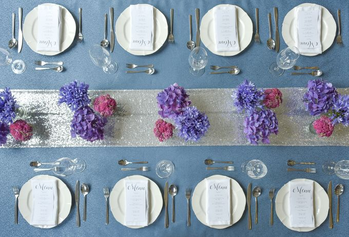 Sparkly Blue Theme by Mesclun Events Catering + Styling  - 001
