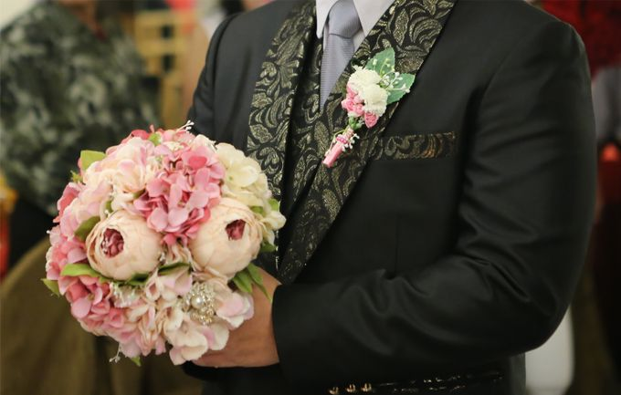Artificial Wedding Hand bouquet - Pink Peony by raia_fleurs - 001