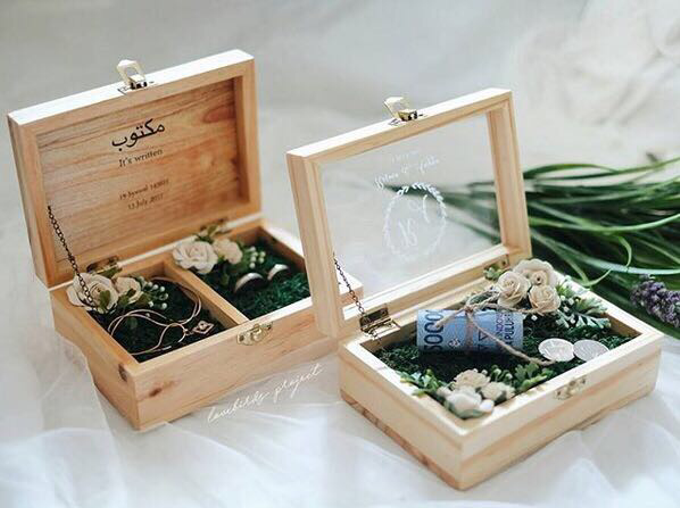 Jewellery and wedding ring box by Woodsmith Box Kayu - 003