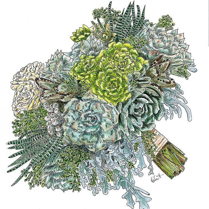 Custom Bridal Bouquet Paintings  by Down Ellis Lane - Art By Dianne White - 009