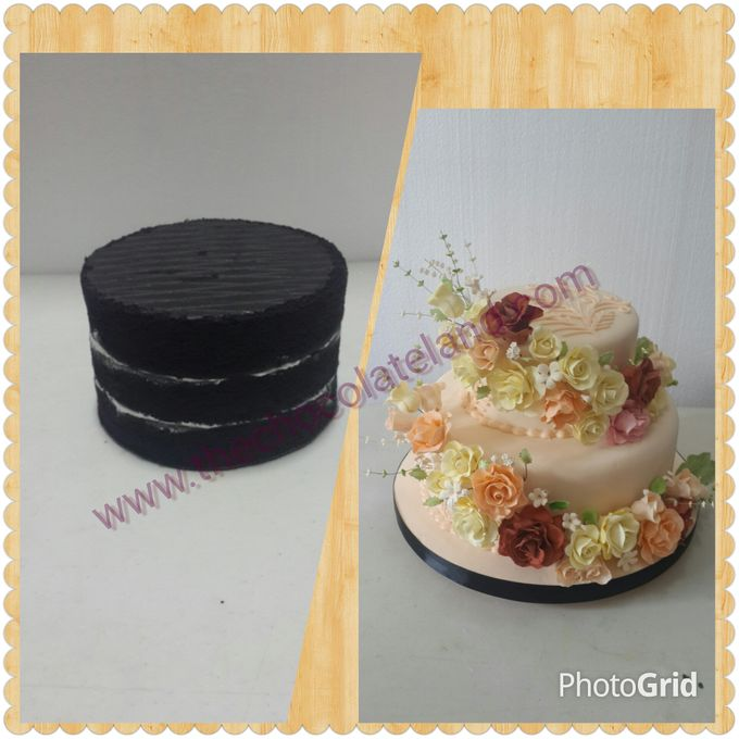 Black velvet and flowers wedding cake by The Chocolate Land - 001