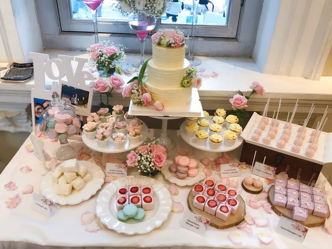 Dessert table with three tier wedding cake by Yoyosummer