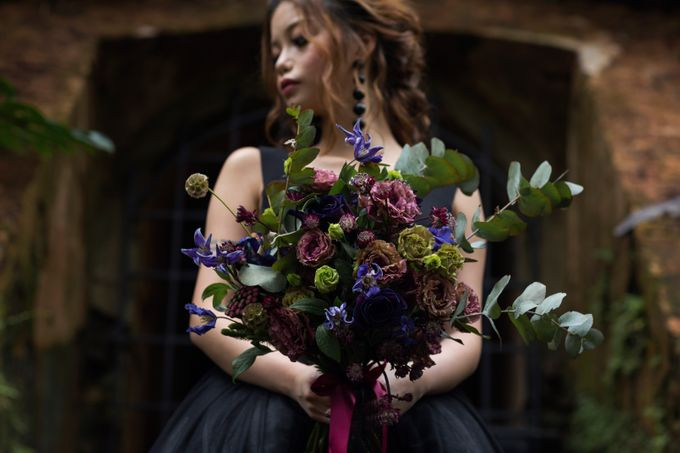 Black Romantic Bohemian Modern Chic Bridal Style Shoot - Danny and Daphne by Sylvia Koh Makeup and Hairstyling - 005