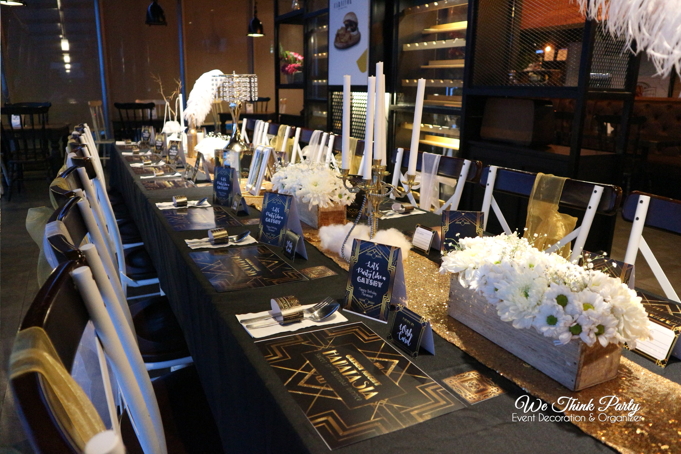 Add To Board Black and Gold Table Setting (The Great Gatsby) by We Think Party - 006 & Black and Gold Table Setting (The Great Gatsby) by We Think Party ...